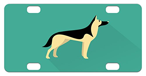 German Shepherd Mini License Plate by Lunarable, Flat Illustration in Simple Style Purebred Tall Canine Animal, High Gloss Aluminum Novelty Plate, 2.94 L x 5.88 W Inches, Sea Green Cream - Flat Illustration Style