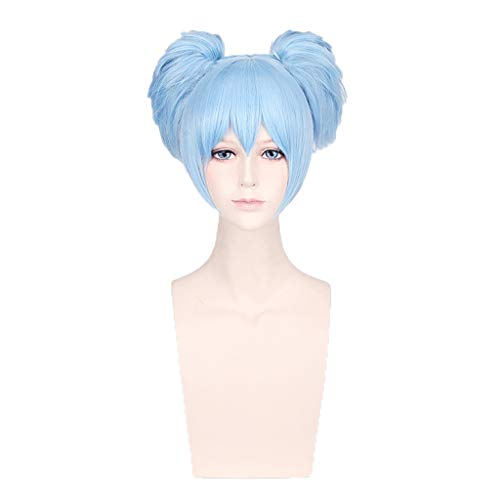Hot Sale!Short Cosplay Wig, Blue Halloween Party Full Hair with Ponytails Wig Straight Bob Fluffy Natural Looking Heat Resistant (Blue) -