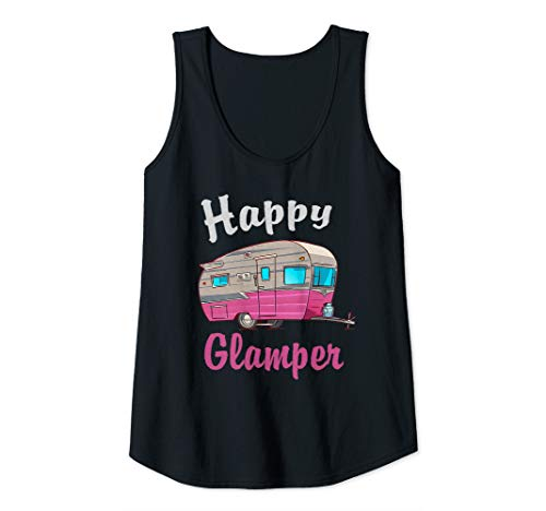 Womens Happy Glamper Camping Lover Girl Camper Camp Vacation Shirt  Tank -