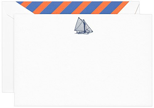 Crane & Co. Engraved Sailboat Correspondence Card- Pack of 20 Cards
