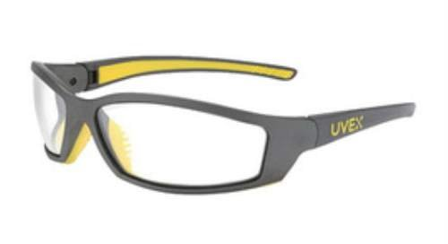 Uvex By Sperian SolarPro Safety Glasses With Gray And Yellow Frame And Clear Polycarbonate Uvextreme Anti-Fog Lens. Purchase of 5 Each