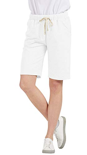 Chartou Women's Comfy French Terry Elastic Wasit Knit Jersey Bermuda Shorts with Drawstring (White, Large)