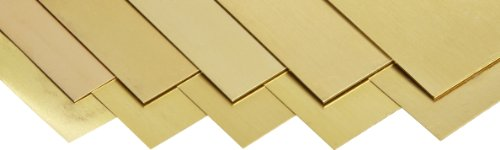 260 Brass Sheet, Unpolished (Mill) Finish, Half Hard Temper, Metric, 0.05-0.5 mm Thickness, 150 mm Width, 300 mm Length (Pack of 10)