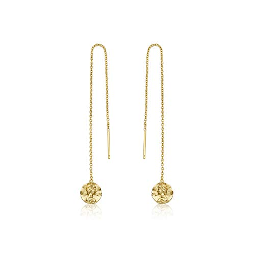 Long Italian Sterling Drop Silver (Womens 925 Sterling Silver Long Dangle Drop Italian Vintage Coin Threader Earrings, 14K Gold Plated)