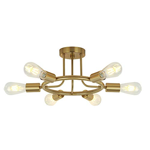 BONLICHT 6 Lights Semi Flush Mount Ceiling Light Brushed Brass Mid Century Modern Chandelier Lighting Gold Sputnik Ceiling Light Fixture for Dining Room Bed Room Kitchen Island Foyer - Pendant Six Halogen Ceiling Light