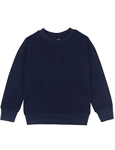 (Spring&Gege Youth Basic Sport Crewneck Pullover Sweatshirts for Boys and Girls Size 5-6 Years Navy Blue)