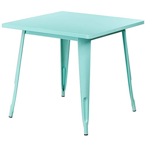 Modern Vintage Style Bistro Bar Pub Lounge Dining Square Table Solid Metal Frame Indoor-Outdoor Home Office Furniture - (1) Mint Green #2018