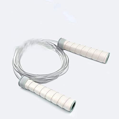 Cuerda de saltar de gel de mano ajustable para entrenamiento de fitness en el hogar y ni/ños con rodamiento de bamb/ú para quemar grasas y deportes de cuerda amarilla BKAUK