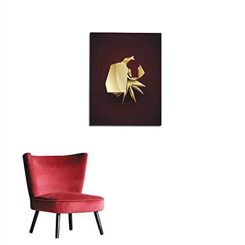 longbuyer Wall Paper d Gold Origami Crab Mural 32