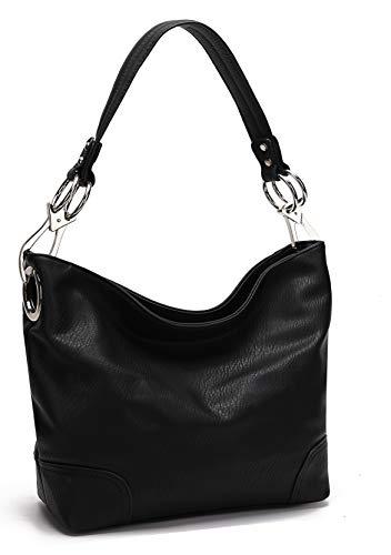Bag Black Collection - MKF Hobo bag for Women - Satchel-Tote shoulder Bag - Vegan Leather Womens Purse Top Handle Pocketbook Handbag Black