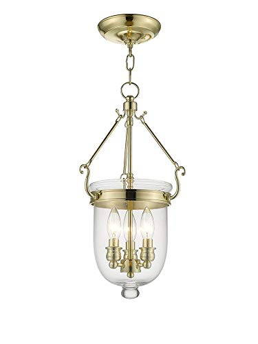 Livex Lighting 5063-02 Jefferson 3-Light Hanging Lantern, Polished Brass