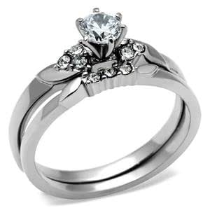 Amazon.com: Stainless Steel Round Solitaire CZ Engagement