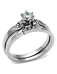 Stainless Steel Round Solitaire CZ Engagement Ring and Wedding Ring Set