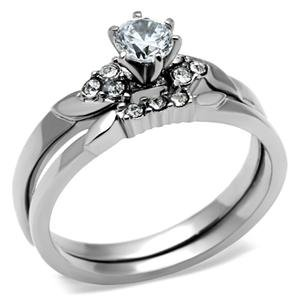 stainless steel round solitaire cz engagement ring and wedding ring set - Stainless Steel Wedding Ring