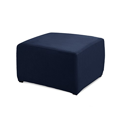 Subrtex Stretch Storage Ottoman Slipcover Protector Spandex Elastic Rectangle Footstool Sofa Slip Cover for Foot Rest Stool Furniture in Living Room (Oversize, Navy)