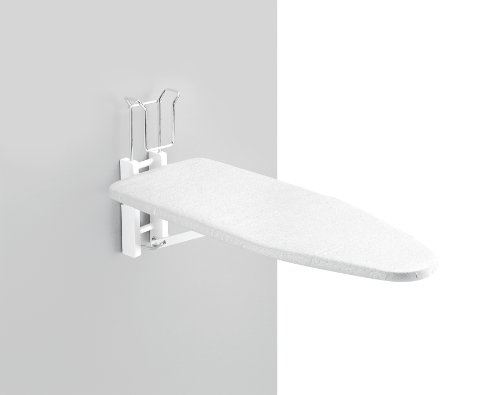MURALIX - Wallmounted Folding Ironing Board with Iron Rack - Handcrafted in Italy - White Finish