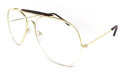WebDeals - Clear Lens Aviator Eyeglasses Classic Retro Metal Frame… (Gold Frame, Brown Top - Rx Aviator Glasses