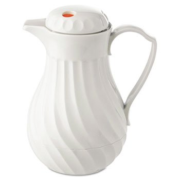 - Polyurethane insulation keeps beverages hot or cold. - HORMEL CORP * Poly Lined Carafe, Swirl Design, 64oz Capacity, White