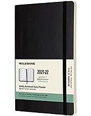 Moleskine 18 Monate Wochen Notizkalender 2021/2022, Large/A5, 1 Wo = 1 Seite, rechts linierte Seite, Weicher Einband, Schwarz
