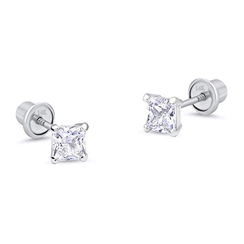 14k White Gold 4mm Basket Princess Cut Cubic Zirconia Children Screw Back Baby Girls Earrings