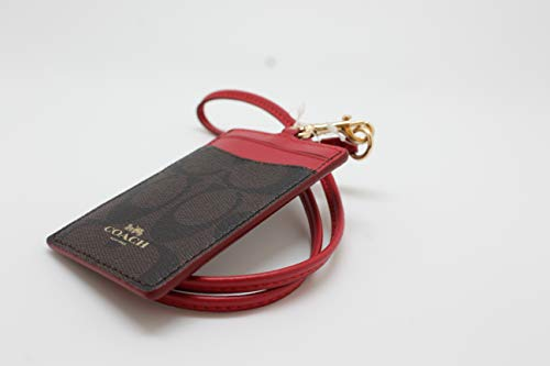 0fcd9232a9 Coach Signature Brown Red Lanyard ID Badge Card Holder 63274 ...
