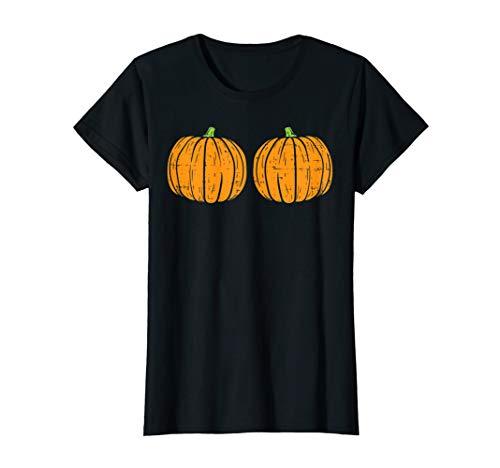 Pregnant Halloween Costume Ideas 2019 (Womens Sexy Naughty Halloween Shirt For Women Pumpkin Bra Boobs)