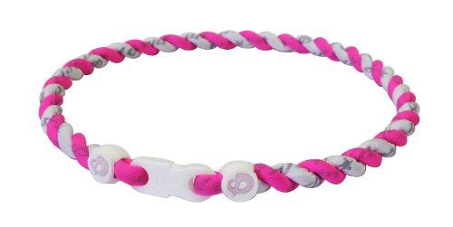 Phiten Tornado Titanium Necklace, Pink/White, (White Phiten Titanium Necklace)