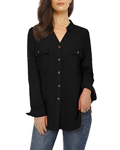 (Womens Casual Button Down Shirts Roll up Long Sleeve Loose Linen Blouse Tops with Front Pockets)