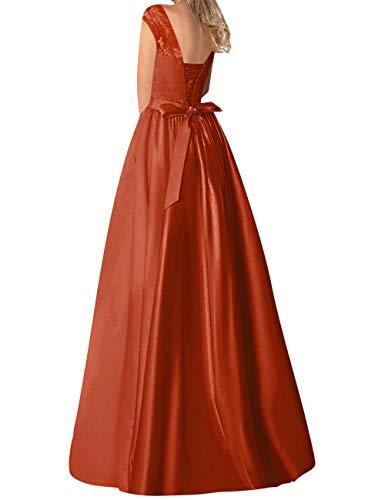 Longue Robes Mariée Robe Bal Avec Jaeden Rouille Dos De Ceinture Nu Formel Soirée Dentelle Satin qxwIata
