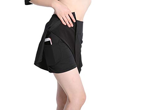 Annjoli Womens Golf Skirt Tennis Workout Fitness Skort (L, Black)
