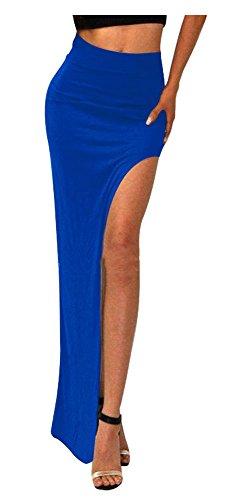 SACASUSA (TM) Sexy Fashion High Waist Long Skirt w/ Slit S ~ M Royal Blue (Sexy Long Skirts)