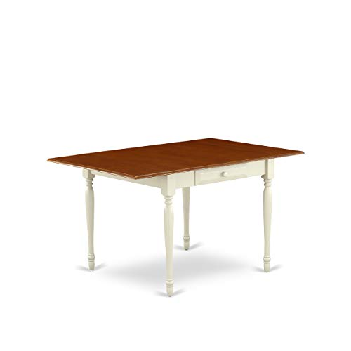 East West Furniture Monza Rectangular Table 36″X54″ With 2 Drop Leaves In Buttermilk & Cherry Finish, Medium