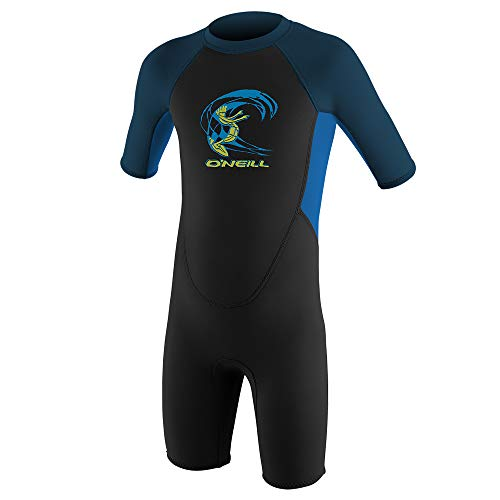 O'Neill Wetsuits Toddler Reactor-2 2mm Back Zip Short Sleeve Spring, Black/Ocean/Slate, Size 1