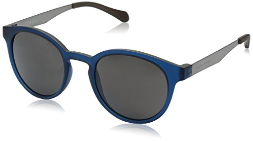 BOSS by Hugo Boss Men's B0869s Round Sunglasses, Matte Blue Beige/Gray Polarized, 51 - Glasses Sun Boss Hugo