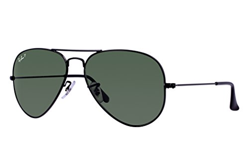 Ray-Ban RB3025 Aviator Sunglasses (58 mm, Black Metal Frame/Polarized Green G-15 - Sunglasses Ray Aviators Ban Mens