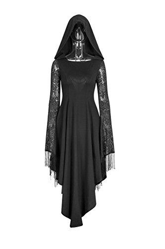 Punk Rave Women Gothic Hoodie Dress Lace Sleeves Irregualr Hem Bandage Mid Skirt Dress Black 2XL Spider Web Lace Long Sleeve