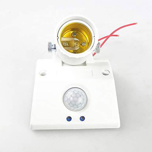 difcuyg5Ozw Durable Smart Delay Adjustable E27 Socket Human Motion Sensor Bulb Holder Light Adapter Easy Installation- White