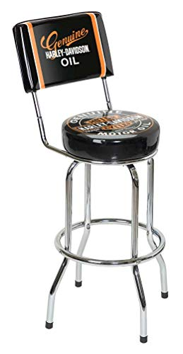 Harley-Davidson Genuine Oil Can Bar Stool w/Backrest HDL-12203