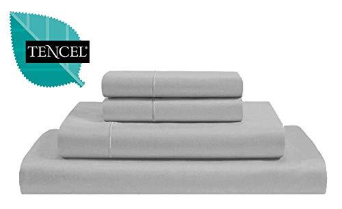 Jvin Fab Luxury 300 Tencel Lyocell Sheets 4 Piece Bed Sheet Set Deep Pocket 100% Tencel Natural Organic Silky Soft Bedsheets Pillow Cases Woven Sateen Cal King Size - Silver