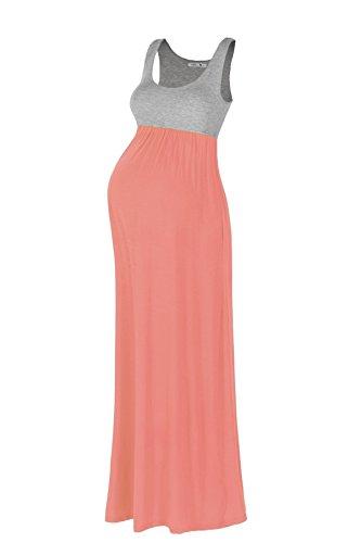 Beachcoco Women's Maternity Contrast Maxi Tank Dress (S, Peach Coral)