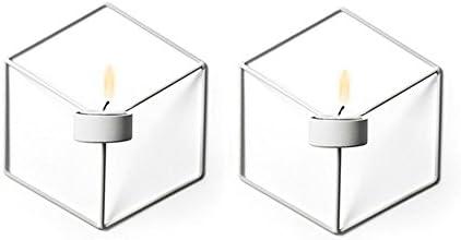 Walmeck Art 3D Geometric Candlestick Metal Wall Candle