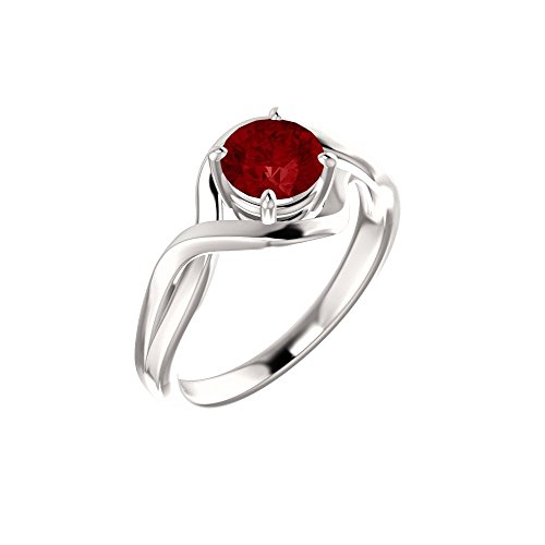Bonyak Jewelry Lab-Created Ruby 14k White Gold Chatham Lab-Grown Ruby Ring - Size 7