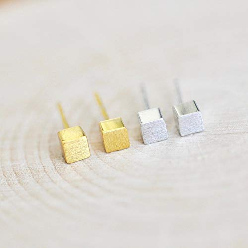 (Simple 3D Cube Earrings Sterling Silver in Gold Finish)