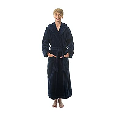 Comfy Robes Men's Terry Velour Hooded Bathrobe, L/XL Navy