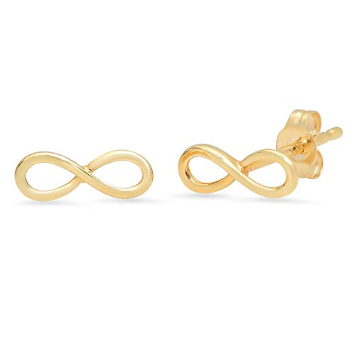 14k Yellow Gold Petite Infinity Shape Stud Earrings ()