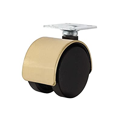 "Twin Wheel Caster Solutions TWHN-50N-P02-BR 2"" Diameter Nylon Wheel Hooded Non-Brake Caster with Top Plate, 1.5"" x 1.5"" Plate, 1"" x 1"" Bolt Hole Pattern, 110 lb Capacity Range"
