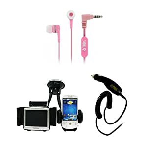 EMPIRE Samsung Galaxy Appeal 3.5mm Stereo Hands-Free Headset Headphones (Pink) + Car Windshield Mounts + Car Charger [EMPIRE Packaging]