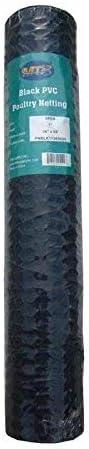 MTB Black PVC Hexagonal Poultry Netting, Chicken Wire 36 x50 -1 20GA 12 18 24 36 48 Width by 25 50 150 Length