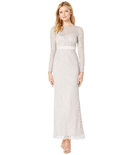 Adrianna Papell Lace Long Sleeve Evening Gown ICY Lilac 10