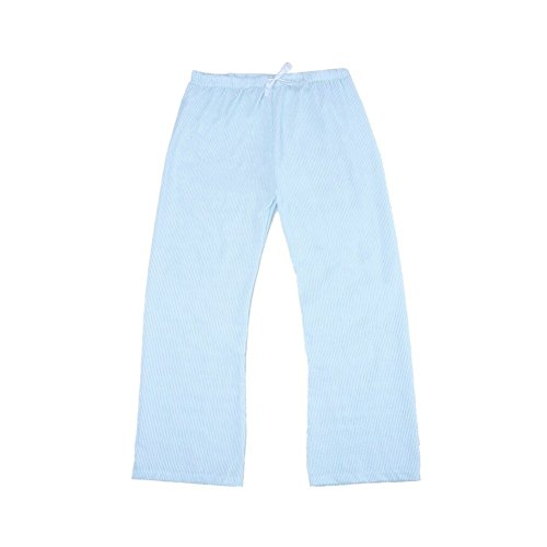 MONOBLANKS Women Seersucker Pajama Pants (XL, Light Blue) ()